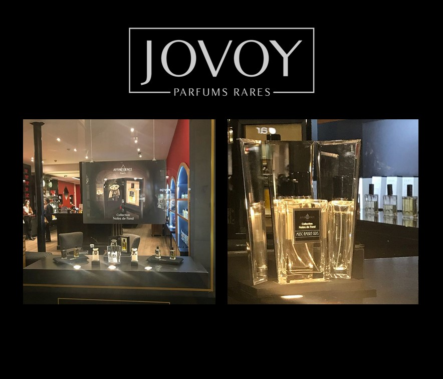 JOVOY Paris window - CUIR-CURCUMA and MUSC-AMBRE GRIS