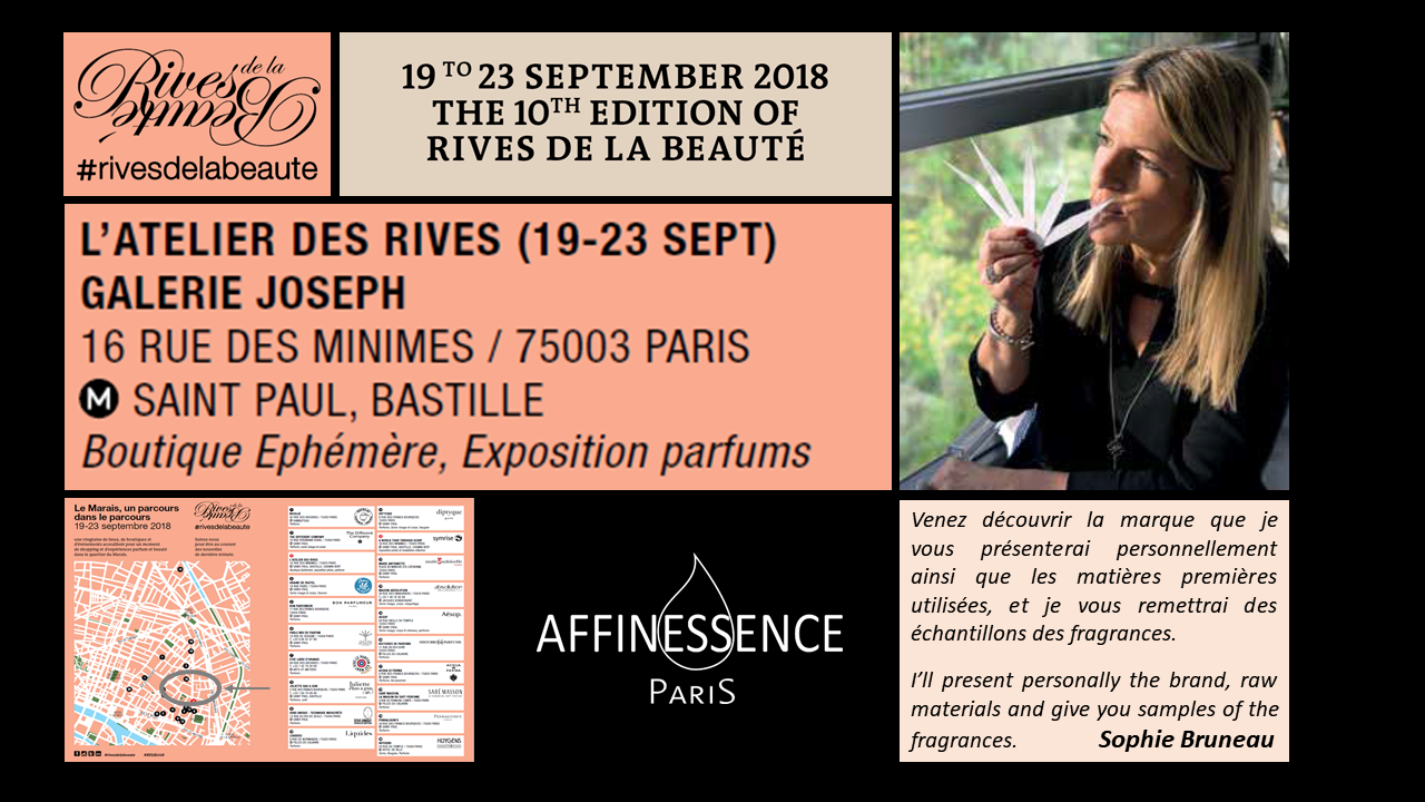 RIVES DE LA BEAUTE 2018 19-23 Sept open to the public, for perfume lovers