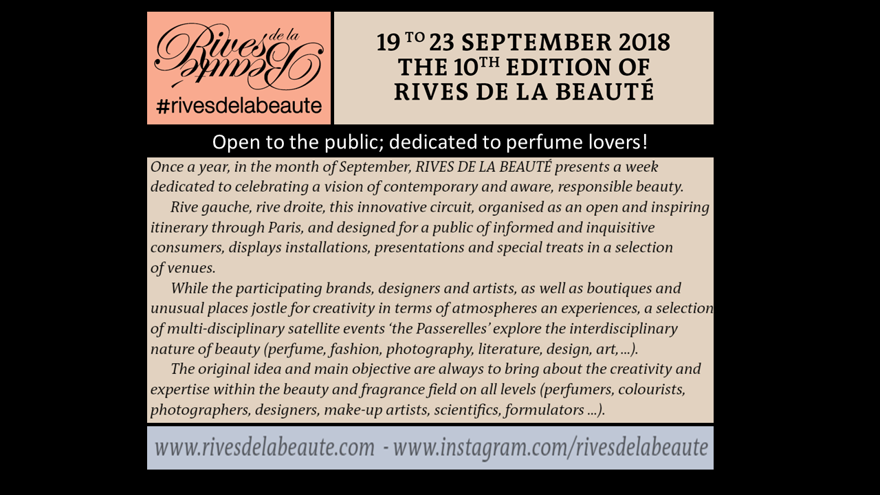 RIVES DE LA BEAUTE 19-23 Sept 2018 in Paris open to the public