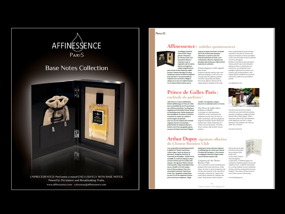 CHINESE BUSINESS CLUB AFFINESSENCE press clip Collection Notes de Fond