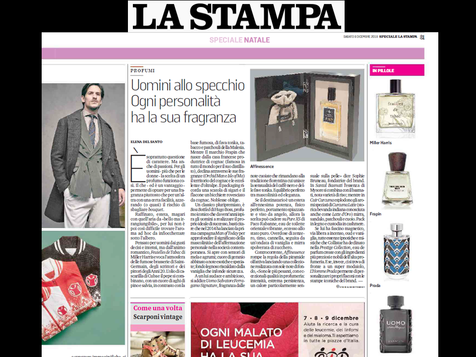 LA STAMPA - PRESENTS AFFINESSENCE IN ITALY - 8 december 2018
