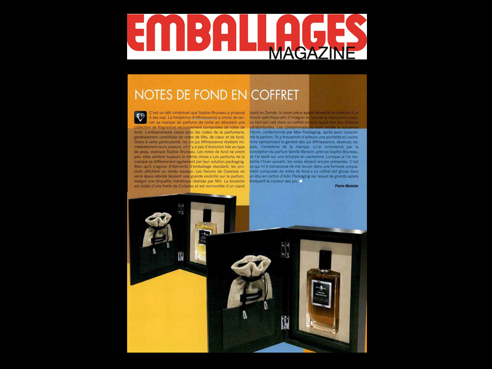 EMBALLAGES MAGAZINE plébiscite le packaging AFFINESSENCE