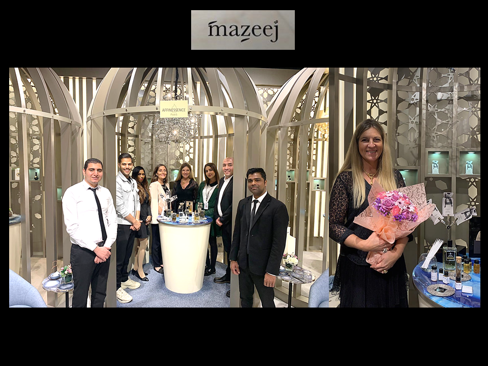 wonderful team of MAZEEJ luxurious perfumery presenting AFFINESSENCE Base Notes Collection at Avenues Mall in Kuwait