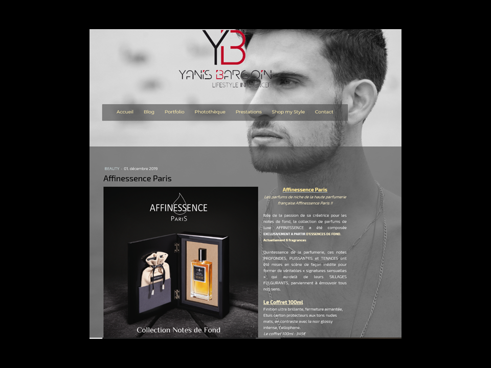 Yanis Bargoin AFFINESSENCE perfume luxury Collection Notes de Fond Made in France